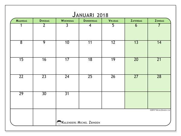 Kalender januari 2018 (65MZ). Maandkalender om gratis te printen.