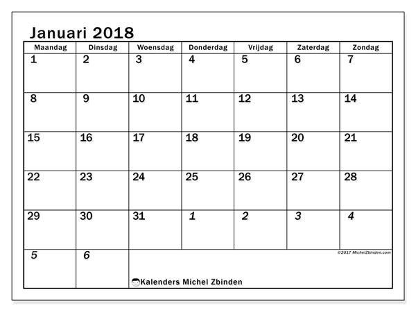 Kalender januari 2018 (66MZ). Gratis kalender om af te drukken.