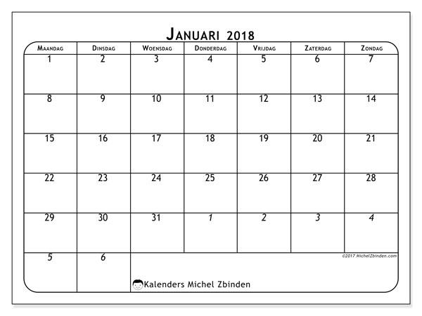 Kalender januari 2018 (67MZ). Kalender voor de maand die gratis moet worden afgedrukt.