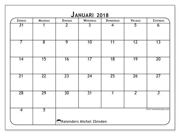 Kalender januari 2018 (67ZZ). Kalender om gratis af te drukken.