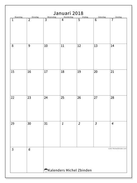 Kalender januari 2018 (68MZ). Agenda om gratis te printen.