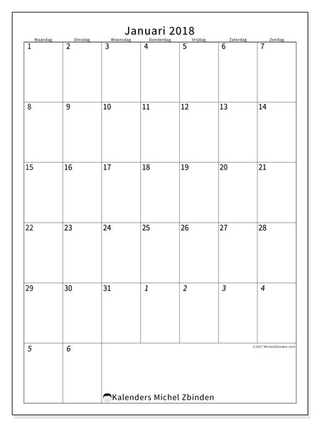 Kalender januari 2018 (68MZ). Kalender om gratis af te drukken.
