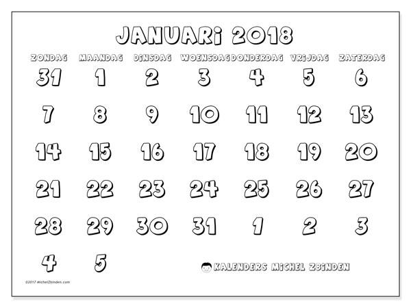 Kalender januari 2018 (71ZZ). Gratis kalender om af te drukken.