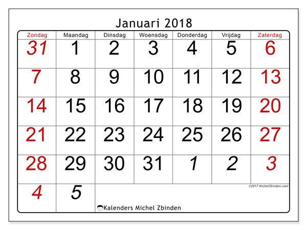 Kalender januari 2018 (72ZZ). Gratis printbare kalender.