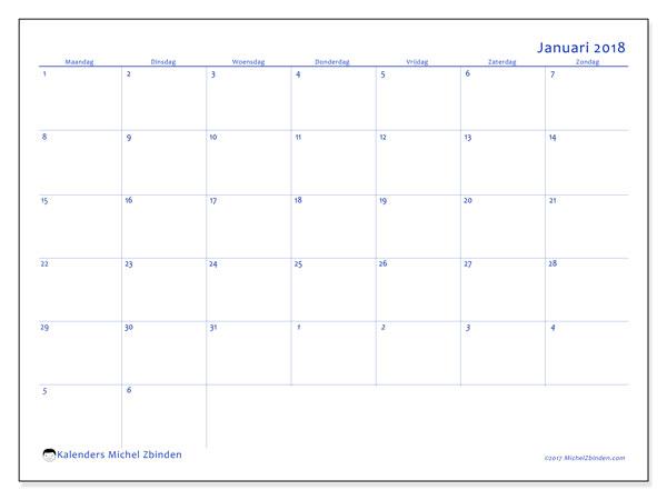 Kalender januari 2018 (73MZ). Schema om gratis te printen.