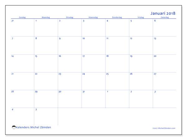 Kalender januari 2018 (73ZZ). Maandkalender om gratis te printen.
