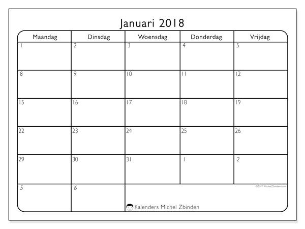 Kalender januari 2018 (74MZ). Agenda om gratis te printen.
