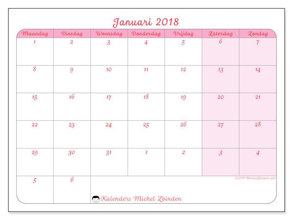 Kalender januari 2018 (76MZ). Kalender voor de maand die gratis moet worden afgedrukt.