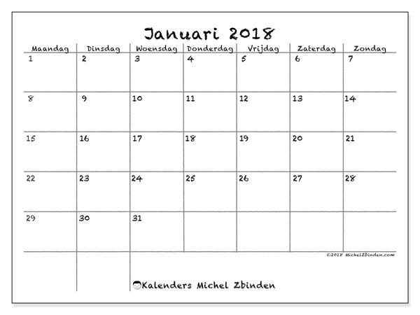 Kalender januari 2018 (77MZ). Kalender om gratis te printen.