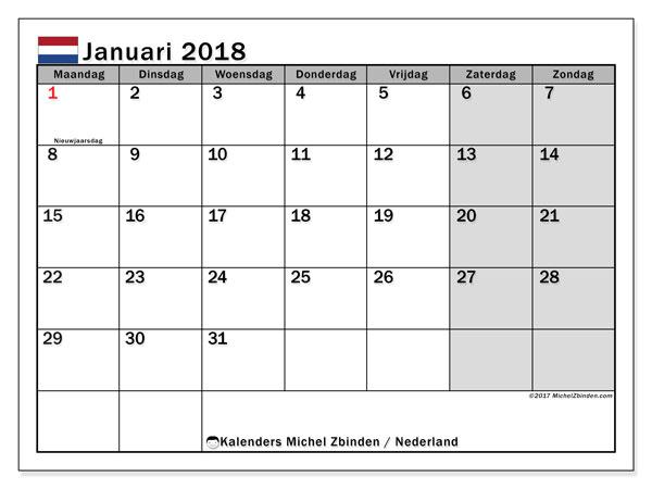 Kalender januari 2018 met de feestdagen van Nederland. Kalender om gratis te printen.