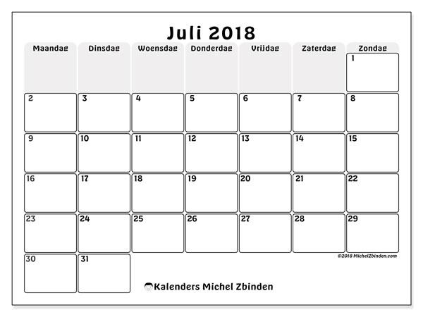 Kalender  juli 2018, 44MZ
