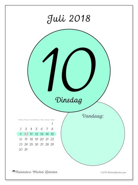 Kalender juli 2018 (45-10MZ). Dagelijkse kalender om gratis te printen.