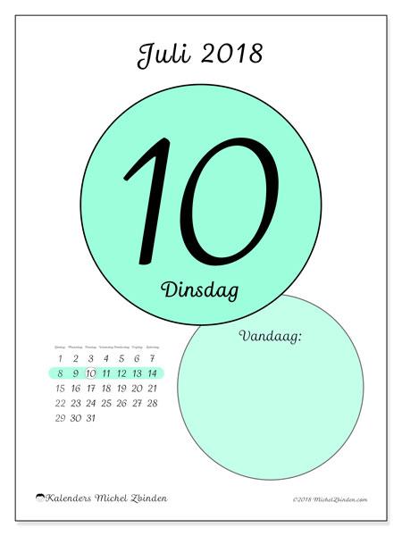 Kalender juli 2018 (45-10ZZ). Dagelijkse kalender om gratis te printen.