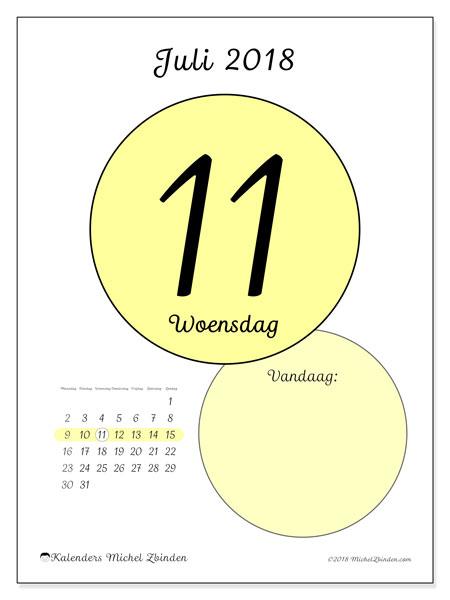 Kalender juli 2018 (45-11MZ). Dagelijkse kalender om gratis te printen.