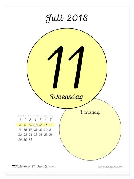 Kalender juli 2018 (45-11ZZ). Dagelijkse kalender om gratis te printen.