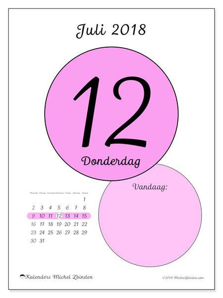 Kalender juli 2018 (45-12MZ). Dagelijkse kalender om gratis te printen.