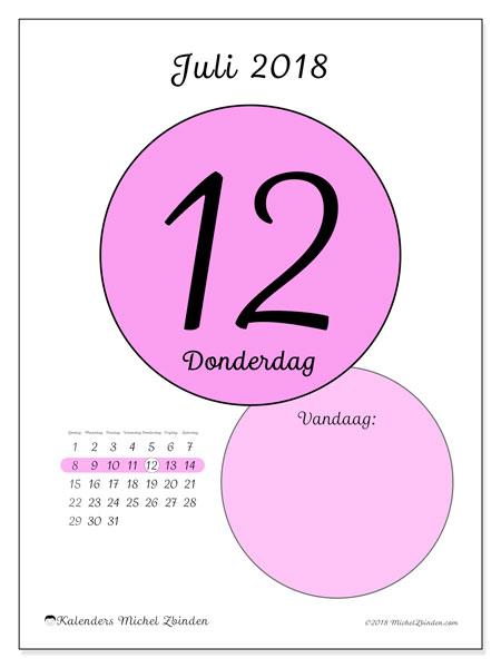 Kalender juli 2018 (45-12ZZ). Dagelijkse kalender om gratis te printen.