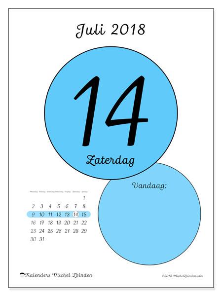 Kalender juli 2018 (45-14MZ). Dagelijkse kalender om gratis te printen.