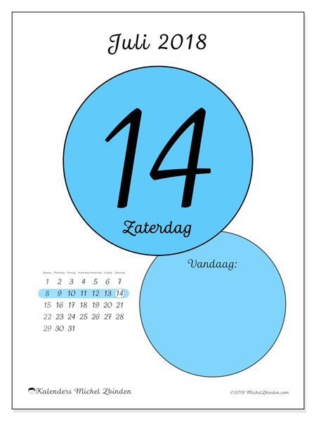 Kalender juli 2018 (45-14ZZ). Dagelijkse kalender om gratis te printen.