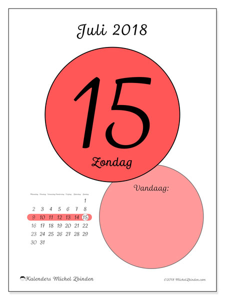 Kalender juli 2018 (45-15MZ). Dagelijkse kalender om gratis te printen.