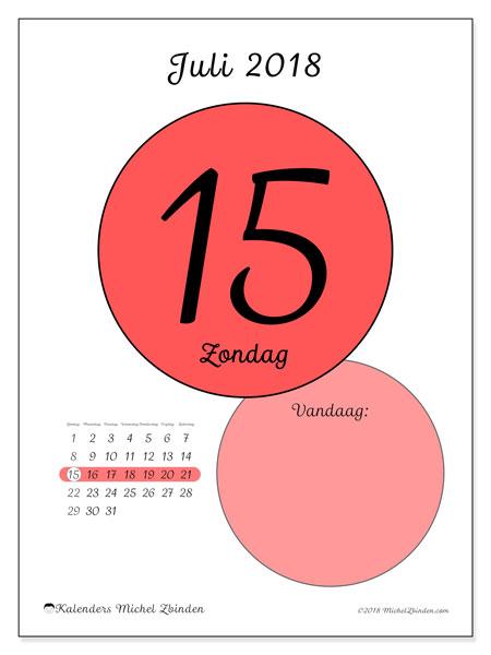 Kalender juli 2018 (45-15ZZ). Dagelijkse kalender om gratis te printen.