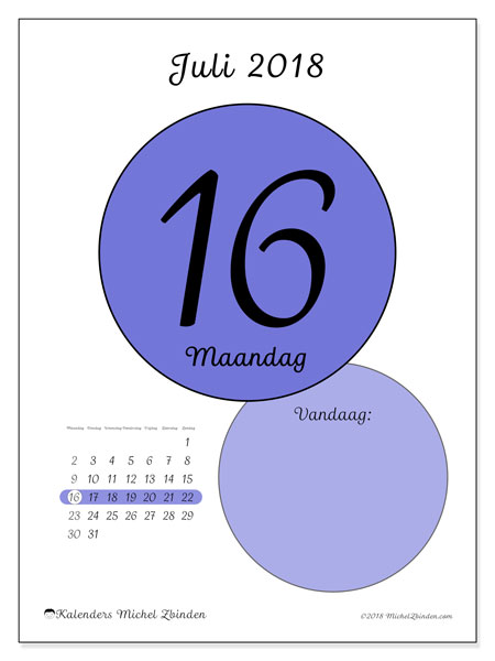 Kalender juli 2018 (45-16MZ). Dagelijkse kalender om gratis te printen.