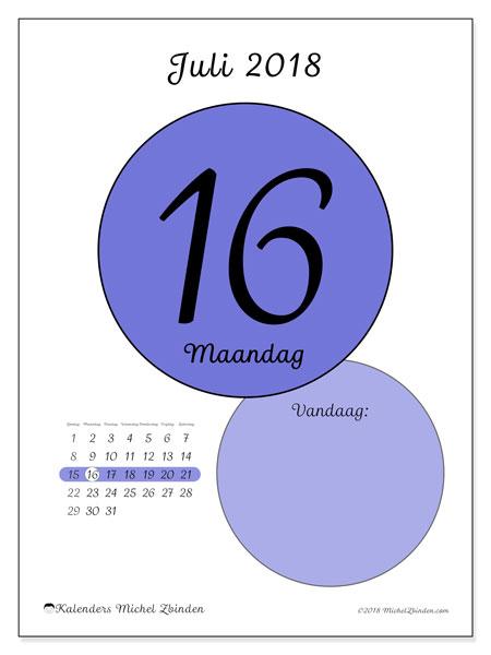 Kalender juli 2018 (45-16ZZ). Dagelijkse kalender om gratis te printen.
