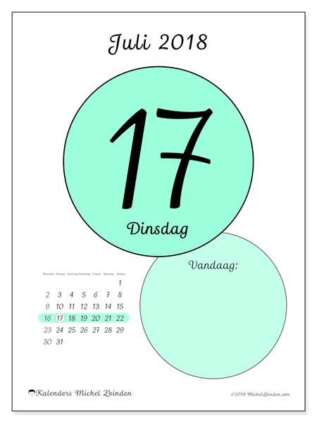Kalender juli 2018 (45-17MZ). Dagelijkse kalender om gratis te printen.