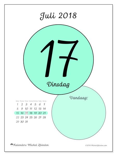 Kalender juli 2018 (45-17ZZ). Kalender voor de dag om gratis te printen.
