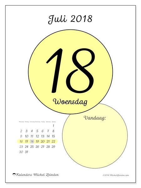 Kalender juli 2018 (45-18MZ). Dagelijkse kalender om gratis te printen.