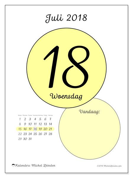 Kalender juli 2018 (45-18ZZ). Kalender voor de dag om gratis te printen.