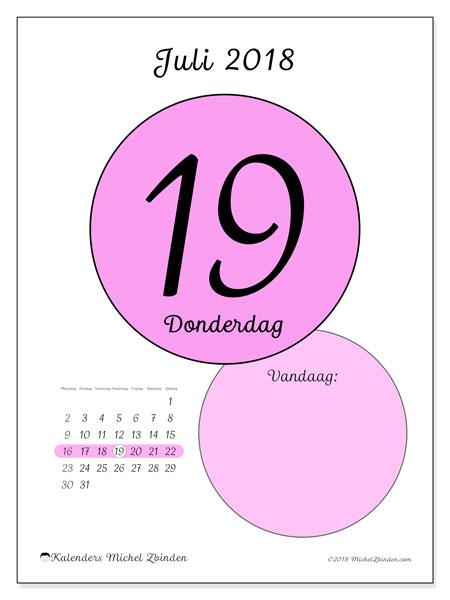 Kalender juli 2018 (45-19MZ). Dagelijkse kalender om gratis te printen.