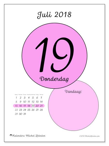 Kalender juli 2018 (45-19ZZ). Kalender voor de dag om gratis te printen.
