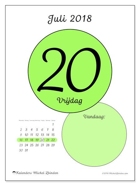 Kalender juli 2018 (45-20MZ). Dagelijkse kalender om gratis te printen.