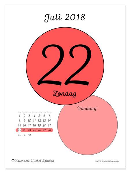 Kalender juli 2018 (45-22ZZ). Dagelijkse kalender om gratis te printen.