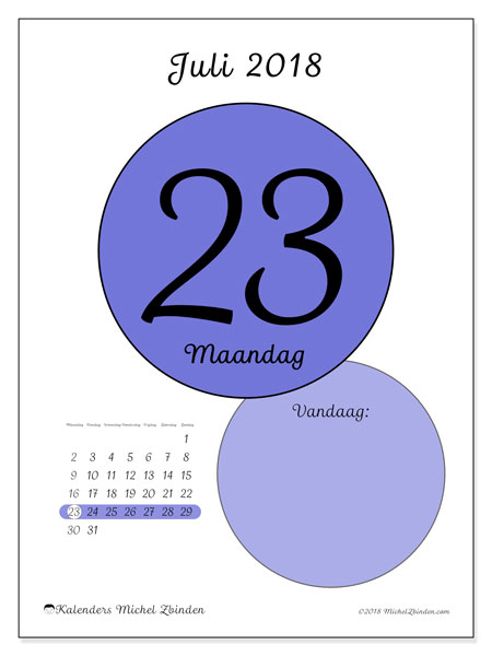 Kalender juli 2018 (45-23MZ). Kalender voor de dag om gratis te printen.