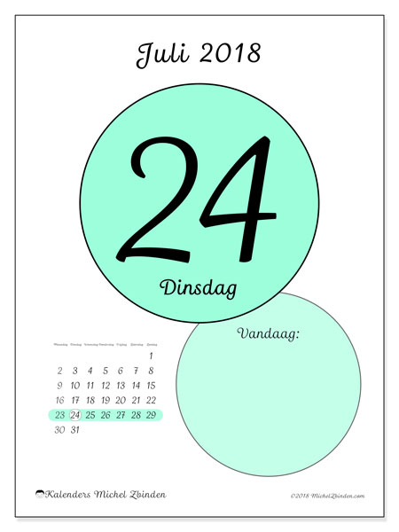 Kalender juli 2018 (45-24MZ). Dagelijkse kalender om gratis te printen.