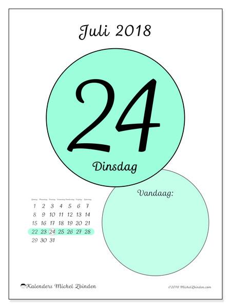 Kalender juli 2018 (45-24ZZ). Kalender voor de dag om gratis te printen.