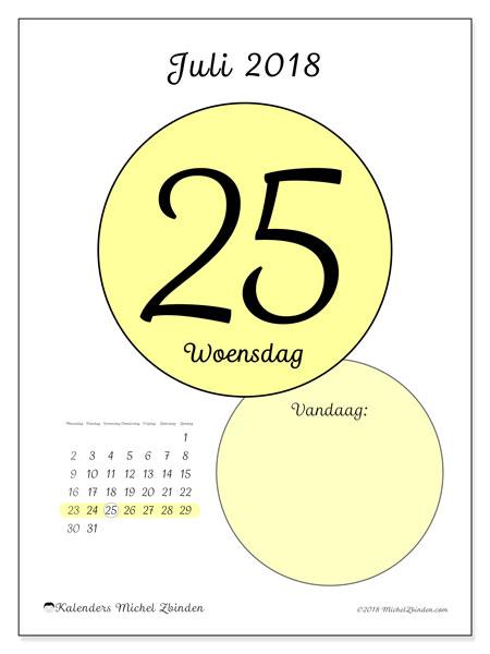 Kalender juli 2018 (45-25MZ). Dagelijkse kalender om gratis te printen.