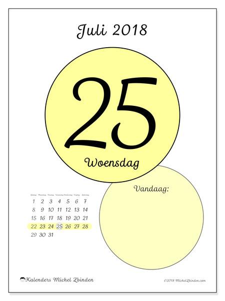 Kalender juli 2018 (45-25ZZ). Kalender voor de dag om gratis te printen.