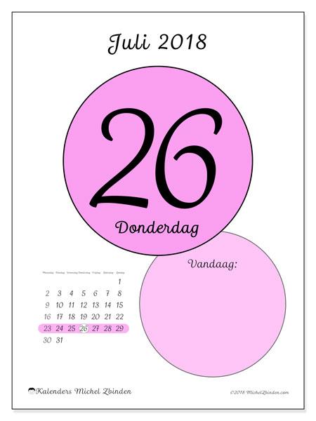 Kalender juli 2018 (45-26MZ). Dagelijkse kalender om gratis te printen.