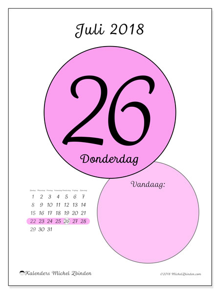 Kalender juli 2018 (45-26ZZ). Kalender voor de dag om gratis te printen.