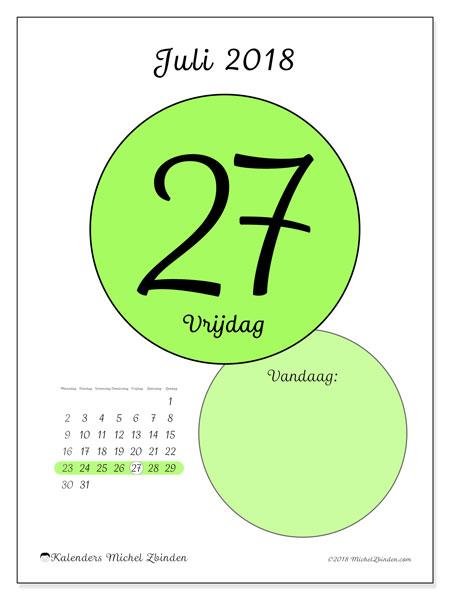 Kalender juli 2018 (45-27MZ). Dagelijkse kalender om gratis te printen.