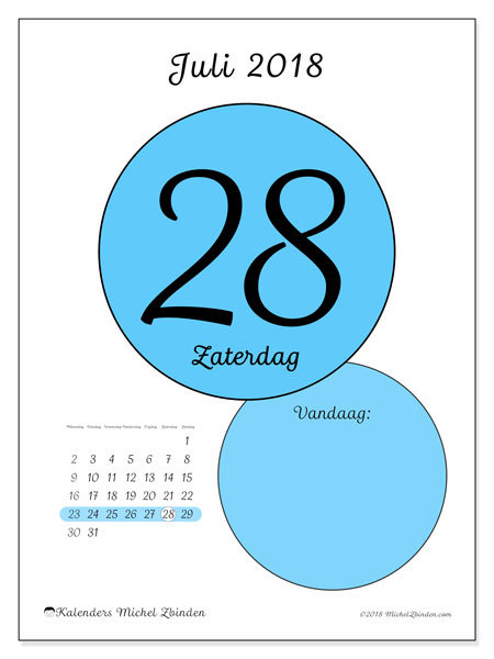 Kalender juli 2018 (45-28MZ). Dagelijkse kalender om gratis te printen.