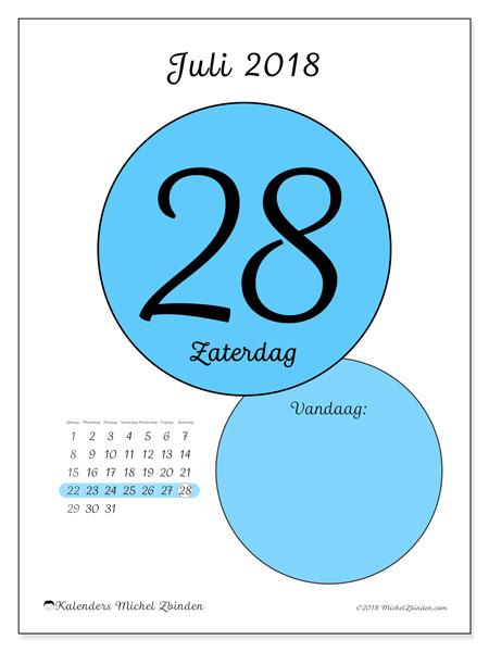 Kalender juli 2018 (45-28ZZ). Dagelijkse kalender om gratis te printen.