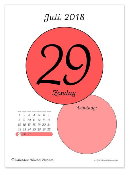 Kalender juli 2018 (45-29ZZ). Dagelijkse kalender om gratis te printen.