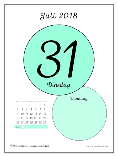 Kalender juli 2018 (45-31MZ). Dagelijkse kalender om gratis te printen.