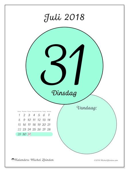 Kalender juli 2018 (45-31ZZ). Kalender voor de dag om gratis te printen.
