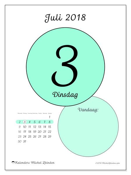 Kalender juli 2018 (45-3MZ). Kalender voor de dag om gratis te printen.