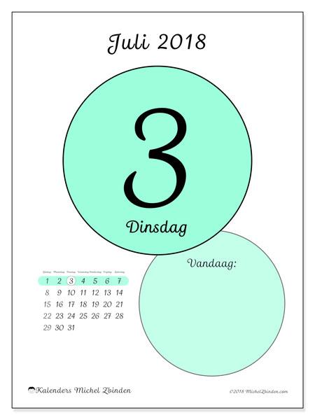 Kalender juli 2018 (45-3ZZ). Kalender voor de dag om gratis te printen.